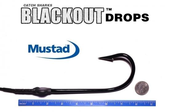 Mustad Kirbed 4480-DT Shark Hook Blackout Drops 12/0 - Set of 2 (ME Black)