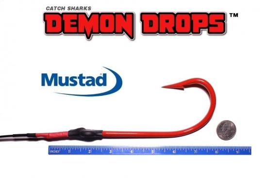 Mustad Kirbed 4480-DT Shark Hook Demon Drops 12/0 - Set of 2 (Baitfish Blood Red)
