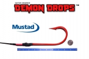 Mustad Kirbed 4480-DT Shark Hook Demon Drops 13/0 - Set of 2 (Baitfish Blood Red)