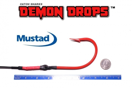 Mustad 7731 Sea Demon Shark Hook Demon Drops 14/0 - Set of 2  (Baitfish Blood Red)