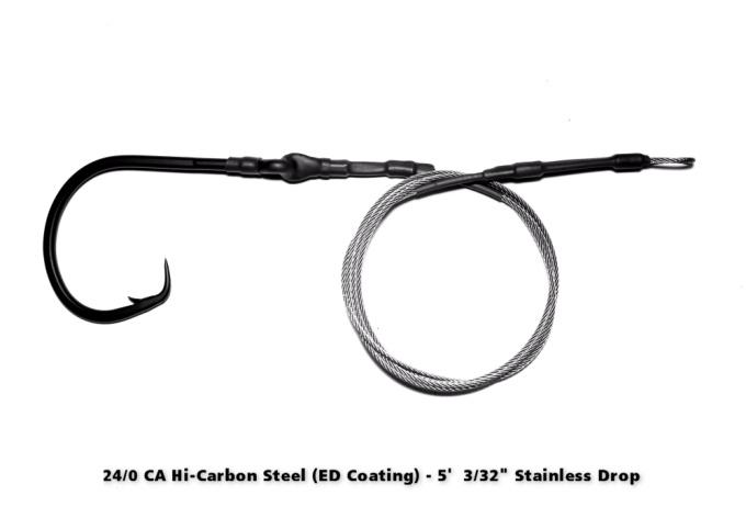 24/0 CA High Carbon Circle Hook ED Coated (ME Black) - 5' Drop