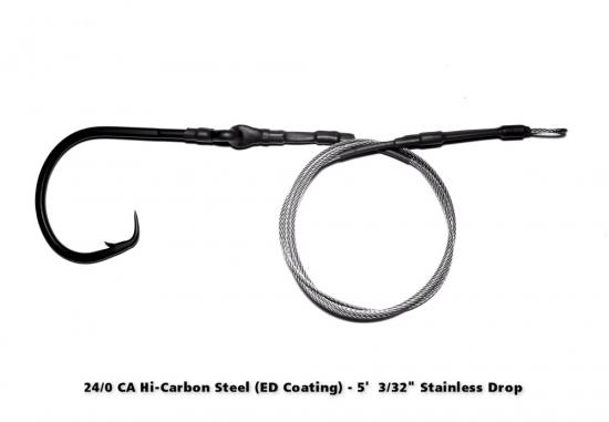 24/0 High Carbon Circle Hook ED Coated (ME Black) - 5' Drop
