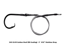 24/0 CA High Carbon Circle Hook ED Coated (ME Black) - 5' Drop