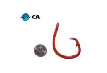 CA 16/0 ED Coated (BBR) Red Non-Offset Circle Hook - 5 Pack