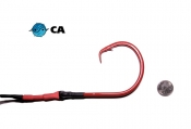 24/0 CA High Carbon Circle Hook ED Coated (BBR Red) - 5' Drop