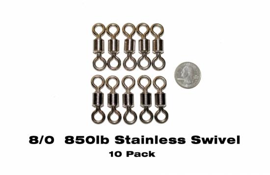Catch Sharks Ultra 8/0 (850lb) Heavy Duty Stainless Steel Barrel Swivels - (10-pack)