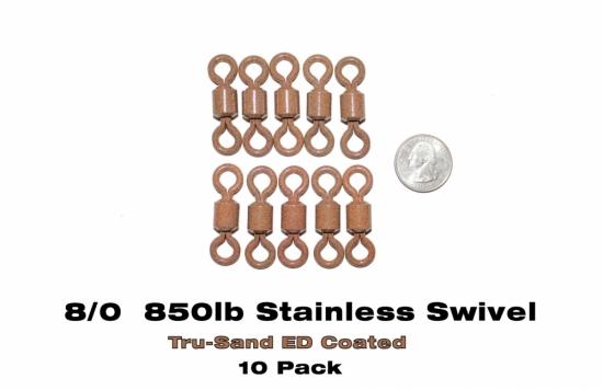 8/0 Heavy Duty Stainless Steel Barrel Swivels -  ED Coated™ Tru-Sand™  (10-pack)