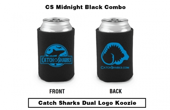Catch Sharks Dual Jawrassic/Classic Logos - Midnight Black/Blue Koozie