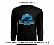 Catch Sharks 'Jawrassic' Logo - 'Midnight Black/Blue' Long Sleeve Performance Shirt
