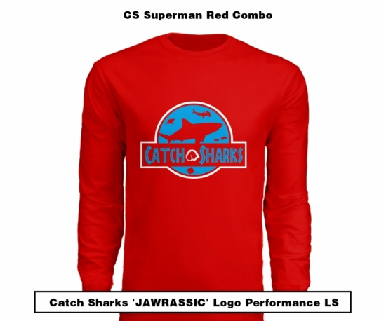 Catch Sharks 'Jawrassic' Logo - 'Superman Red/Blue' Long Sleeve Performance Shirt - LIMITED EDITION