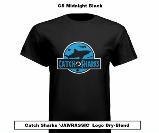Catch Sharks 'Jawrassic' Logo - Midnight Black Short Sleeve Dry-Blend Shirt
