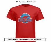 Catch Sharks 'Jawrassic' Logo - Superman Red/Blue Short Sleeve Dry-Blend Shirt