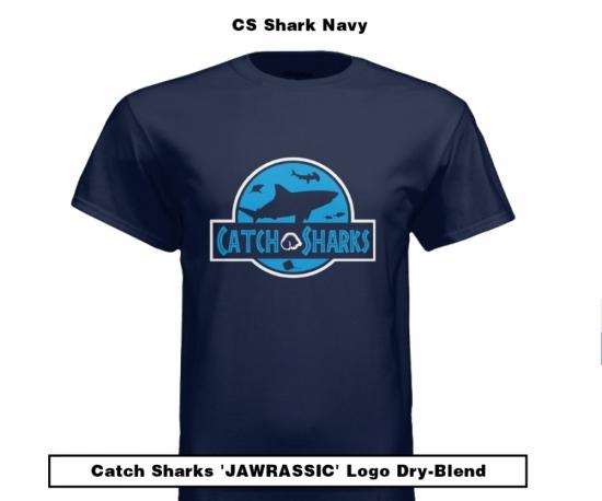 Catch Sharks 'Jawrassic' Logo - 'Shark Navy' Short Sleeve Dry-Blend Shirt
