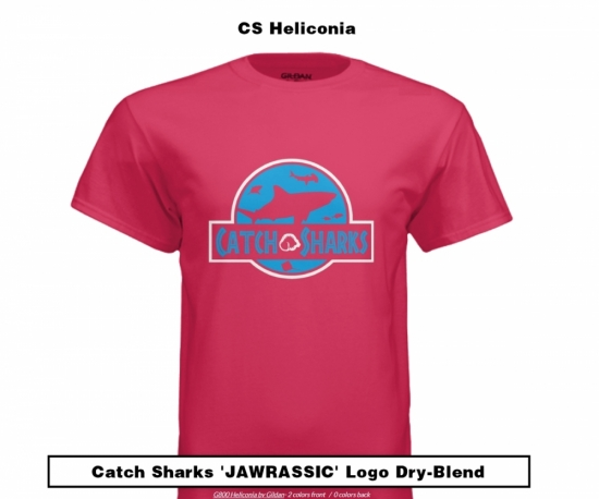 Catch Sharks 'Jawrassic' Logo - Heliconia Short Sleeve Dry-Blend Shirt