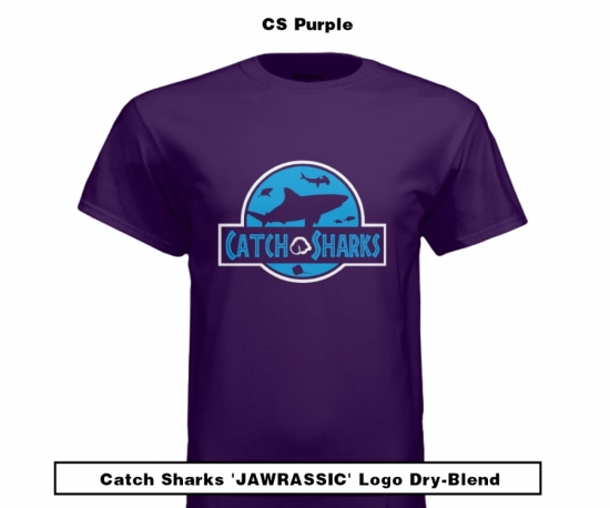 Catch Sharks 'Jawrassic' Logo - Purple Short Sleeve Dry-Blend Shirt