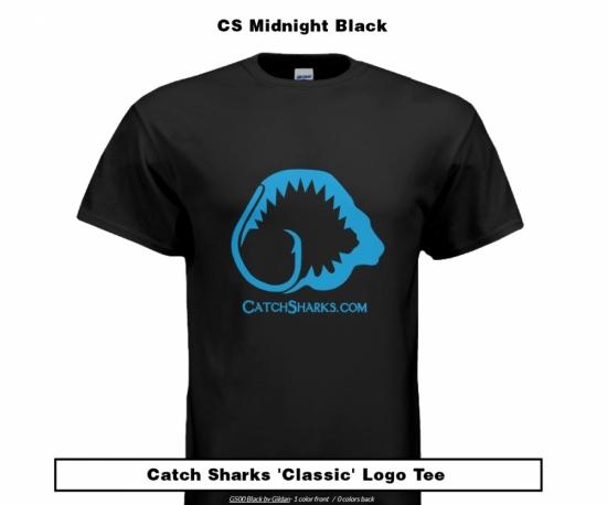 Catch Sharks Classic Logo - Midnight Black/Blue Short Sleeve T-Shirt