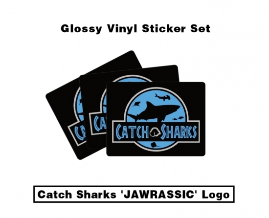 Catch Sharks Dual Jawrassic/Classic Logos - Midnight Black/Blue Glossy Vinyl Sticker Pack
