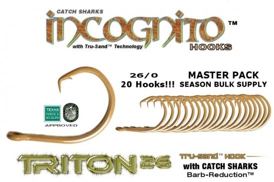 NEW Triton26™ High Carbon Steel 26/0 Bulk Master Pack 20X Non-Offset Circle Hook Tru-Sand™